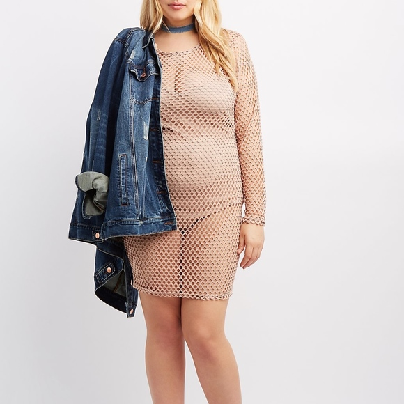 Plus size nude fishnet dress see through XL